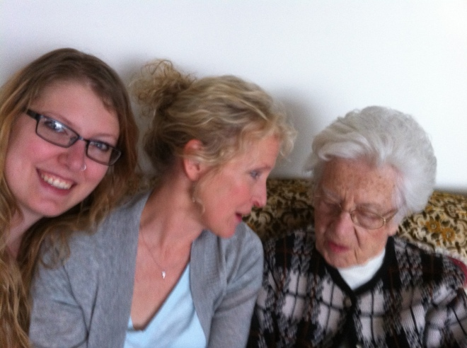 A sorta-blurry surprise photo of me, my mom, and my grandma. My grandma who, by the way, is a rockin' 93 years old.